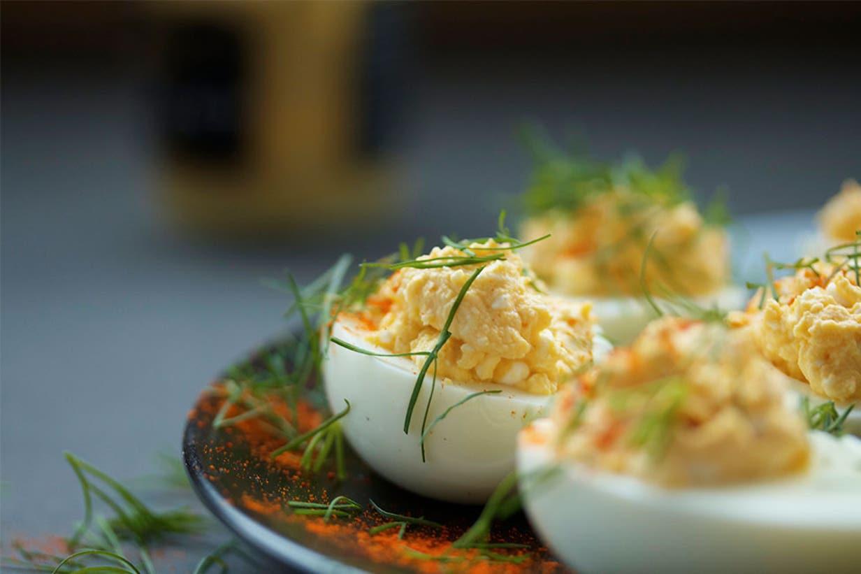 mustard deviled eggs