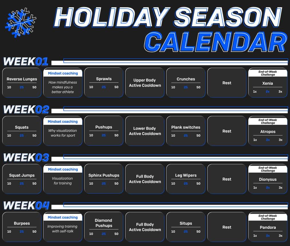 2020 Freeletics Holiday Calendar