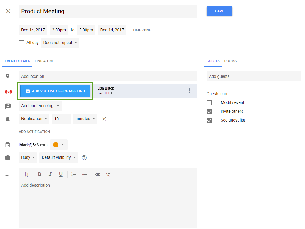 8x8 Virtual Meeting Google Calendar Plugin | 8x8, Inc