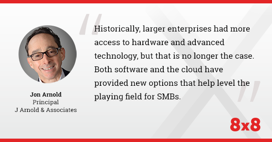 Historically, larger enterprises had more access to hardware and advanced technology, but that is no longer the case. Both software and the cloud have provided new options that help level the playing field for SMBs.