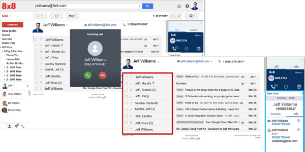 GSuite Screenshot with 8x8 Integration