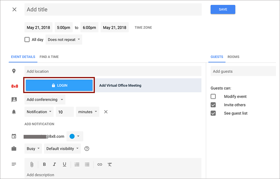 Screen shot of 8x8's Virtual Office Meeting Plugin for Google Calendar
