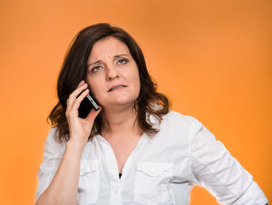 Frustrated caller on hold