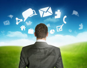 Unified Communications: chat, phone icons in the clouds