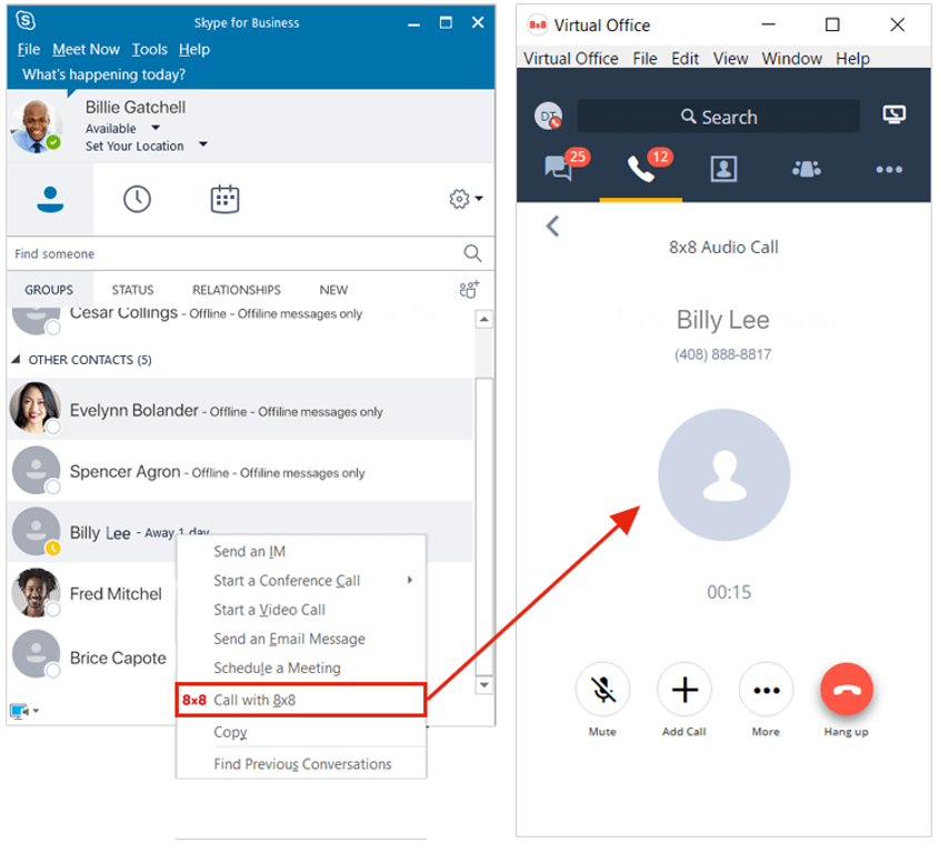 8x8 Virtual Office integrates with Skype for Business | 8x8