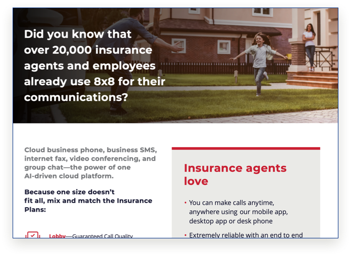 8x8 + Insurance Agents Data Sheet