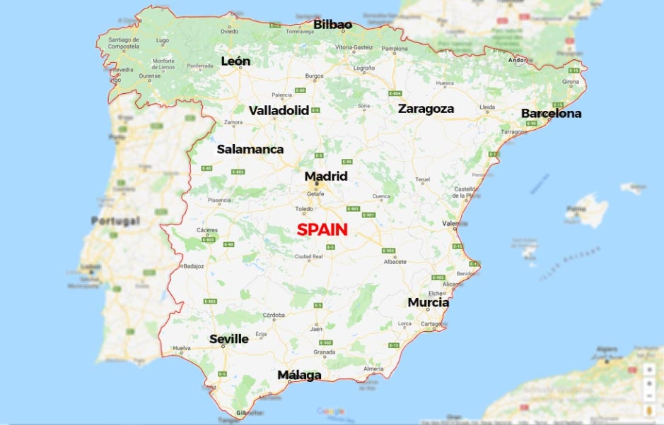 Map Of Spain And Us.Calling Guide Calling The Spain From The Us 8x8 Inc