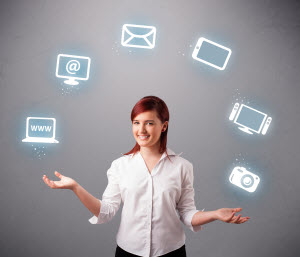 Business phone service: woman juggling icons