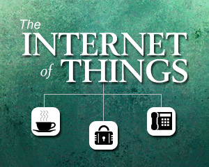 Internet of Things: business phone service, lock and coffee icons