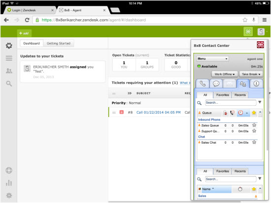 Contact center software integrated with Zendesk