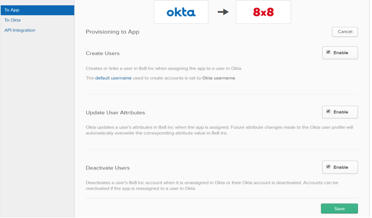 Okta Integration Screen with 8x8