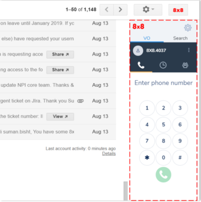 Screenshot 8x8 Virtual Office and G Suite Integration