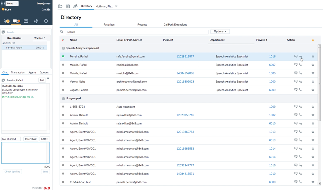 Agent view using Agent Console in 8x8 Virtual Contact Center