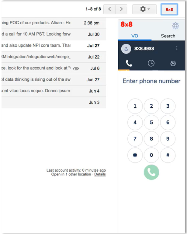 Screen Shoot of G Suite Web Dialer
