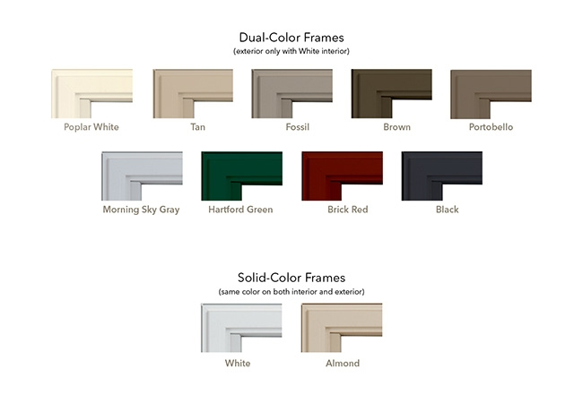 Selection of new Pella vinyl window colors.