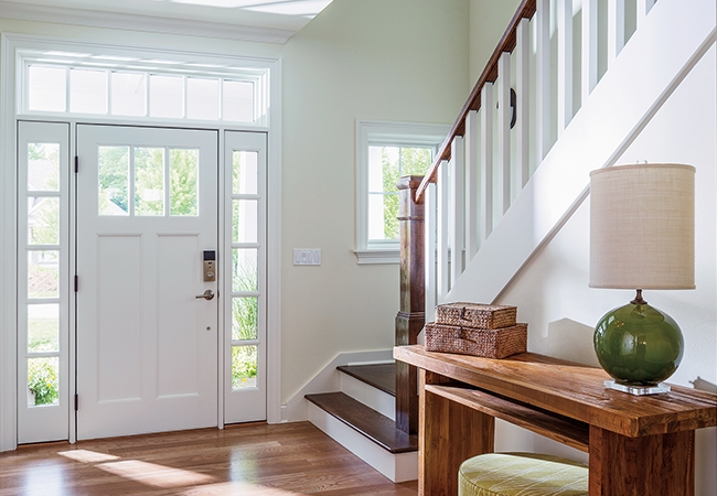 Beautiful Entryway - Pella Craftsman Light Entry Door with Glass and Insynctive Technology