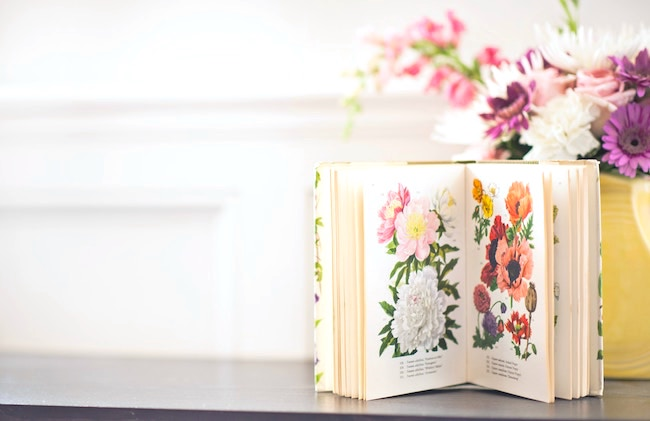 valentines day decor with a floral coffee table book and a fresh bouquet of flowers