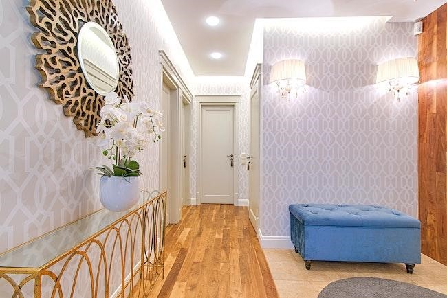 wallpaper neutral pattern hallway