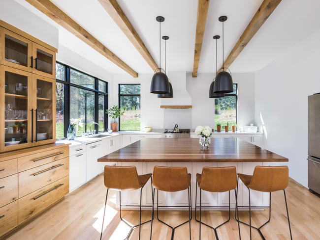 kitchen update contemporary wood ceiling beams
