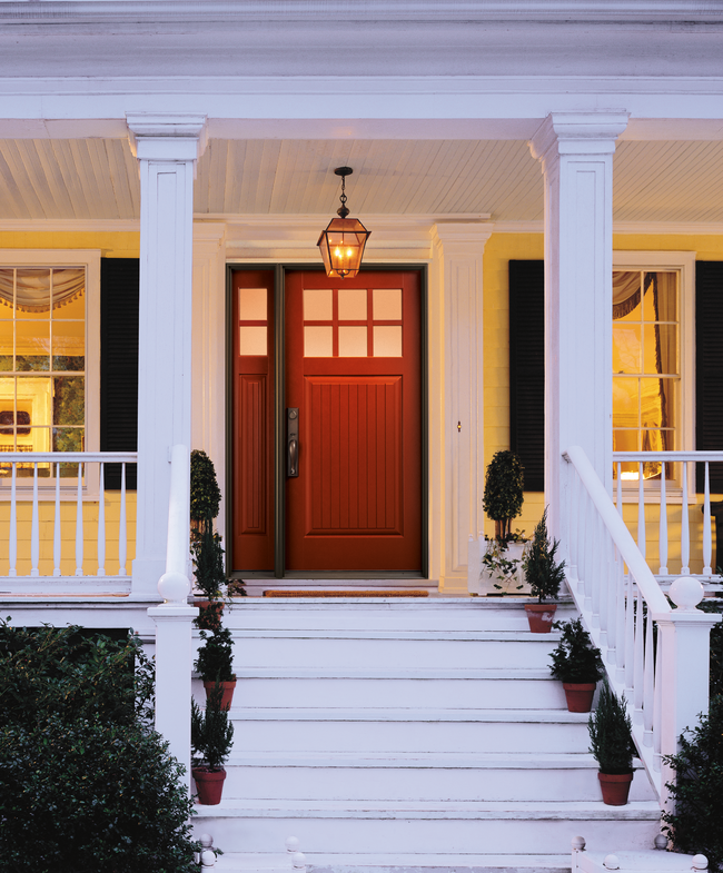 red entry door with single sidelight