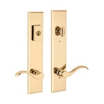 Multipoint lock handle with bright brass finish