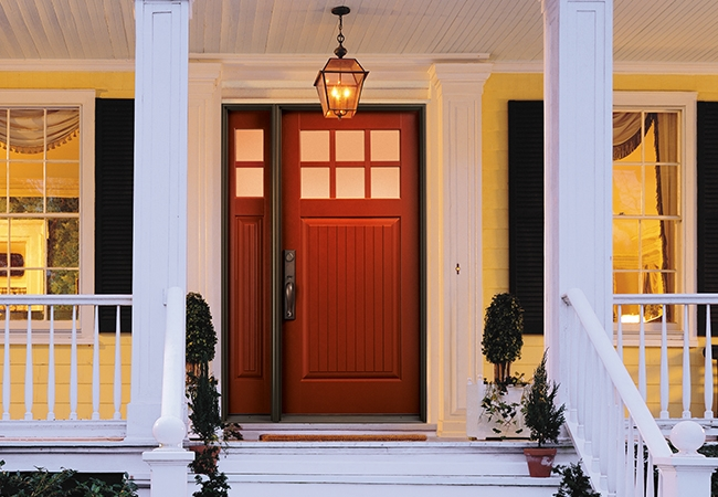 Total Home Refresh - Pella Architect Series Plank Craftsman Light Entry Door with Glass in Brick Red