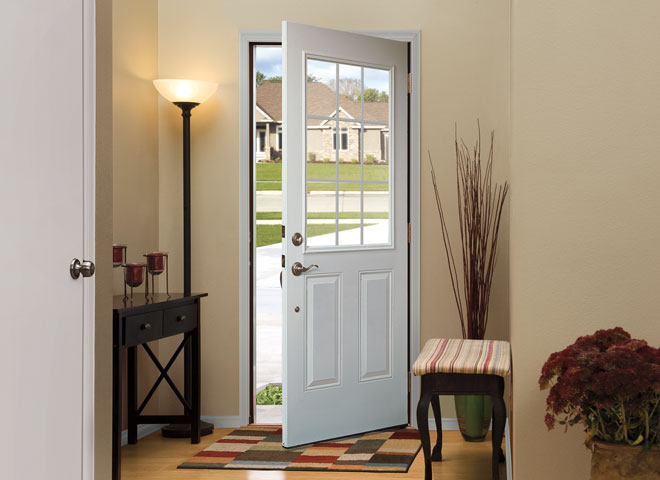 encompass by pella entry doors interior entry door open white panel