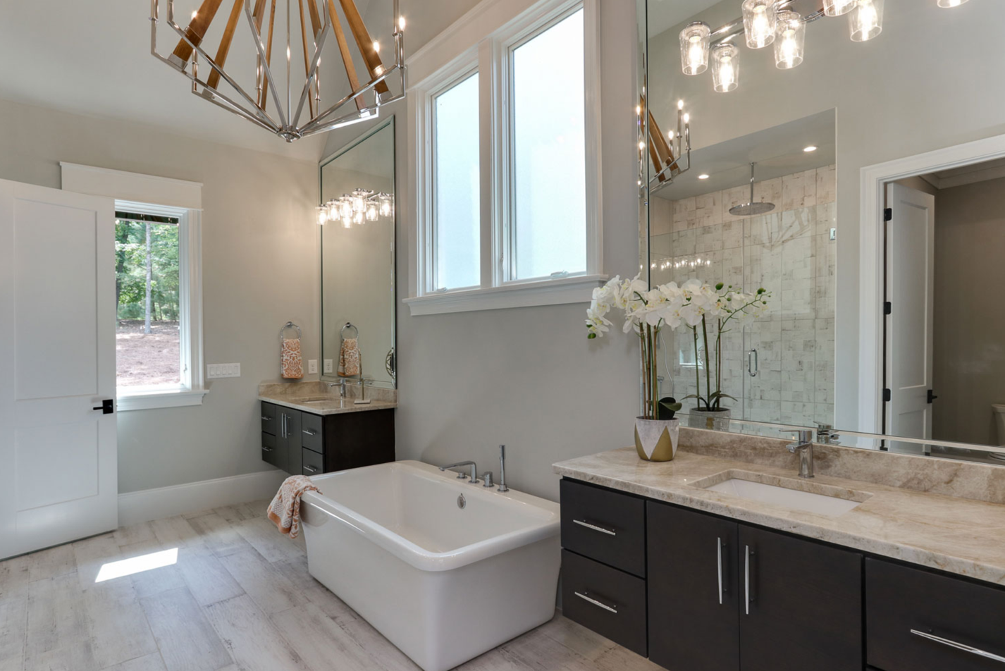 contemporary master bathroom in raleigh