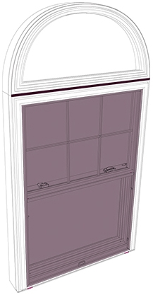 Exterior Parts of a Double-Hung Window with Circlehead