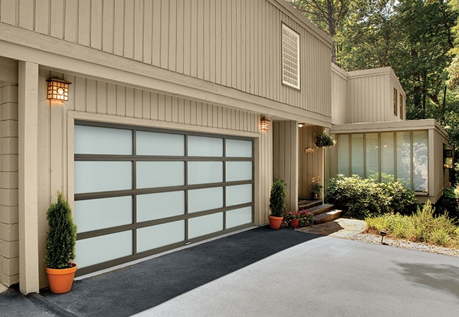 Highlight modern, contemporary architecture with a unique wood and glass garage door