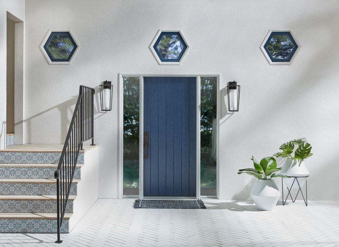 architect series entry doors plank solid panel entry door blue with sidelights
