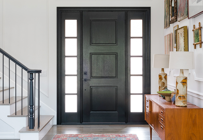 home remodel entry door black solid panel with sidelights