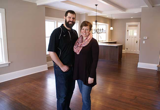 First time house flippers Jonathan and Andi show off the living room and kitchen in their first renovation project