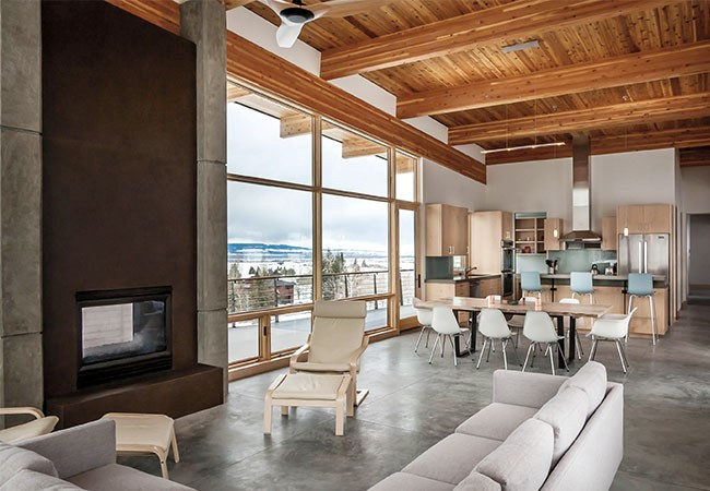 modern living room and kitchen with light wood
