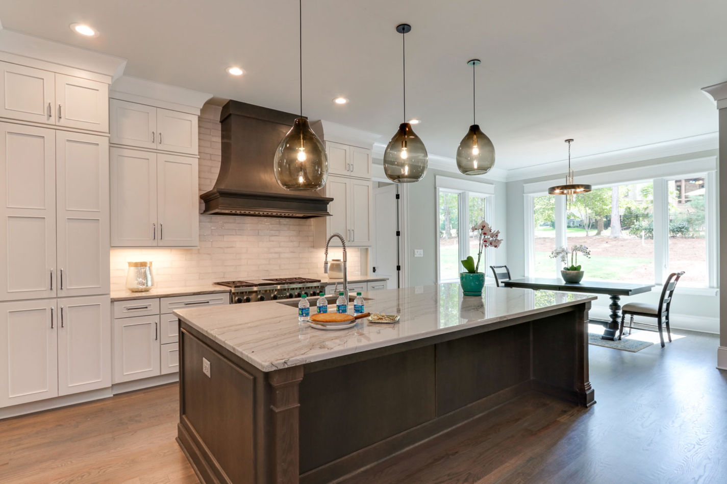 contemporary kitchen staggered lights