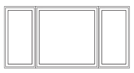 center fixed window with two casement flankers
