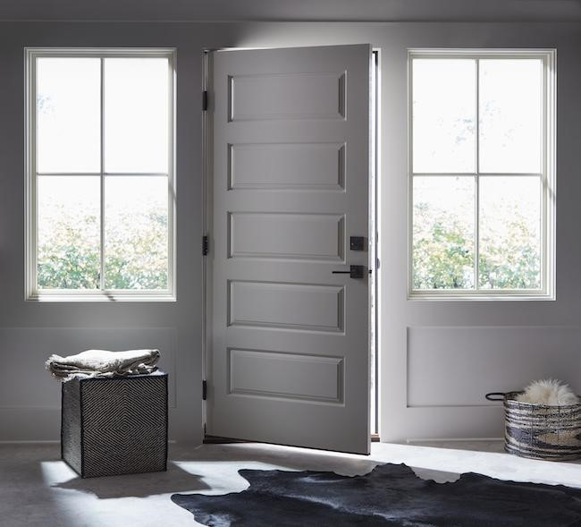 five panel entry door white