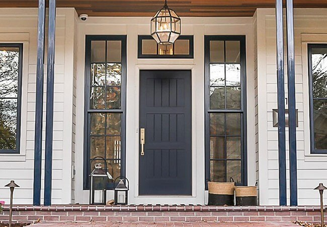 Black front door solid panel with sidelights and transom