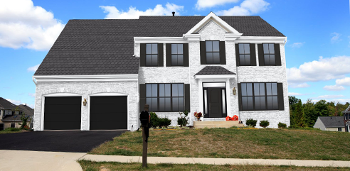 design works after white brick and siding two story home