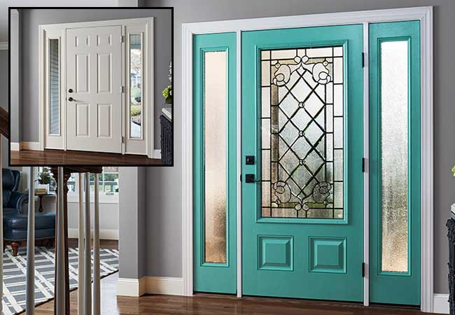 Before and after photos of white entry door, transformed with Sparkling Teal.