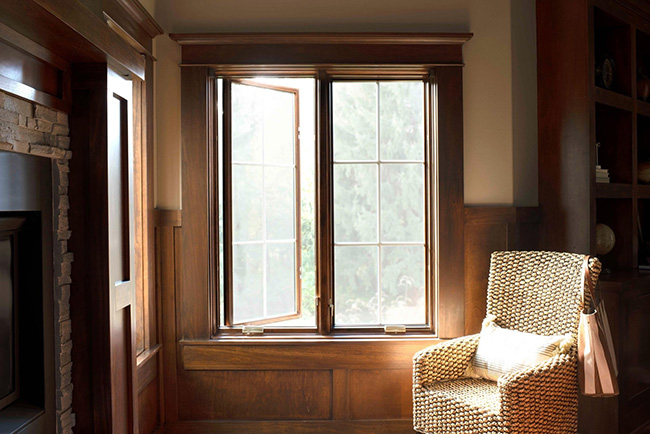 pella lifestyle series casement window two-wide wood trimmed with grilles