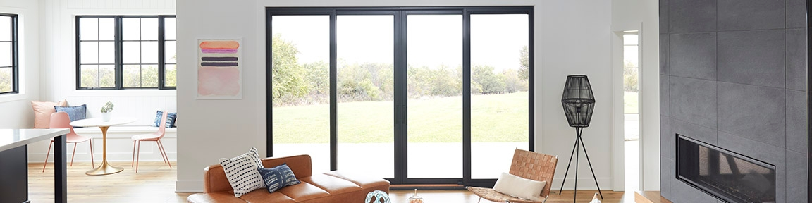 lifestyle series sliding door in a large living room