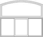 arch head over 3 panel sliding window