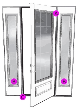entry door with sidelights serial number