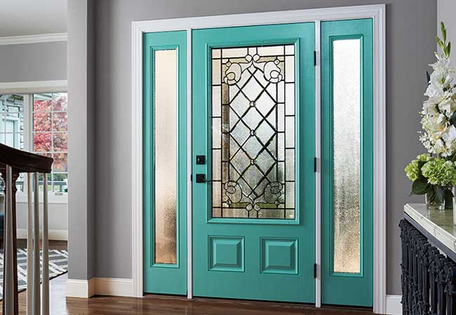 Entry door with a vibrant sparkling team finish.