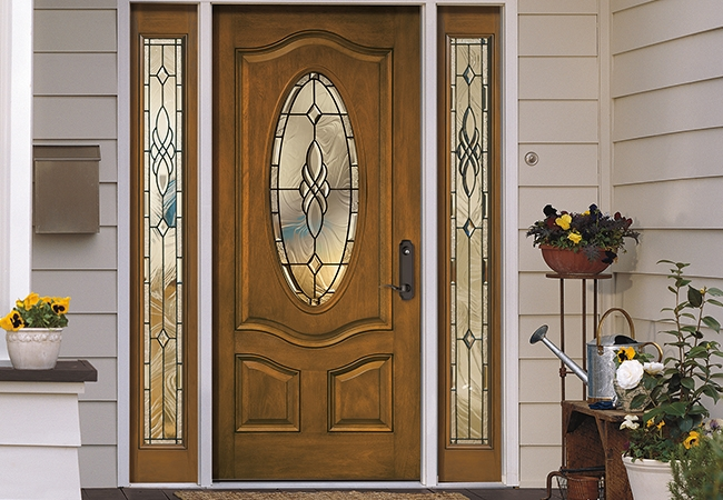 Beautiful Entryway - Pella 3 Panel Scroll Top Oval Entry Door with Glass