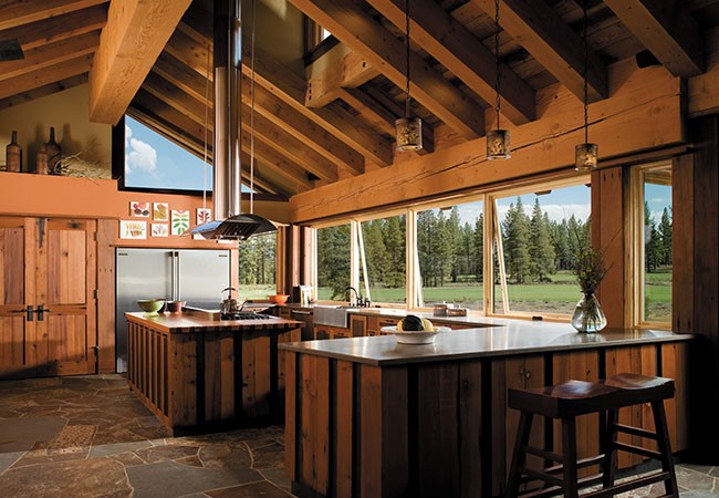 wood country kitchen with slate floors