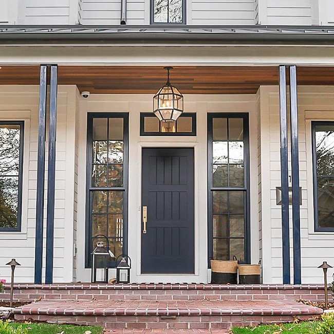 black solid panel front door