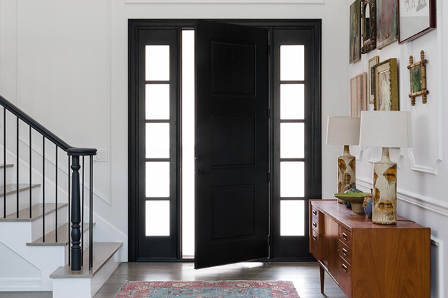 Black front entry door with sidelights