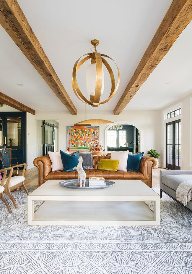 transitional contemporary living room wood ceiling beams